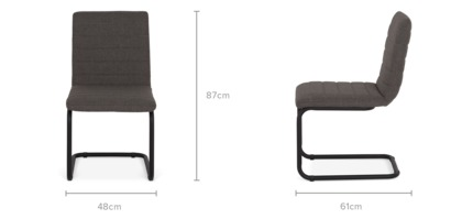 dimension of Duke Armless Chair, Dark Grey