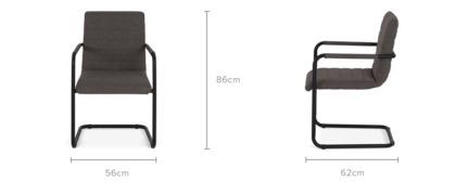 dimension of Duke Arm Chair, Dark Grey