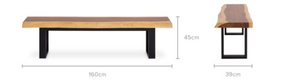 dimension of Alba Dining Bench