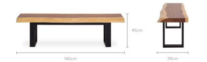 dimension of Alba Dining Bench