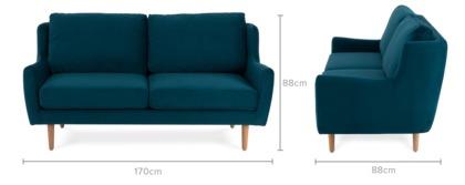 dimension of Delphine 2 Seater Sofa