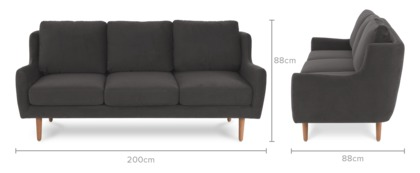 dimension of Delphine 3 Seater Sofa