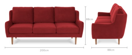 dimension of Delphine 3 Seater Sofa