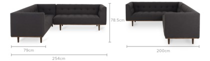 dimension of Jeanne L-Shape Sectional Sofa