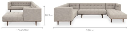 dimension of Jeanne Extended Sectional Chaise Sofa