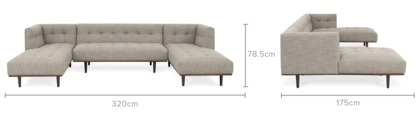dimension of Jeanne U-Shape Chaise Sofa