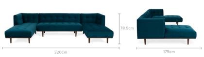 dimension of Jeanne U-Shape Chaise Sofa