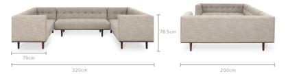 dimension of Jeanne U-Shape Sectional Sofa