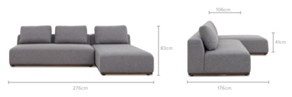 dimension of Warren Sectional Sofa