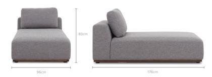 dimension of Warren Chaise Sofa