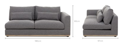 dimension of Alfie Right Facing 2 Seater Sofa