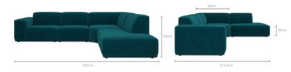 dimension of Todd Extended Sectional Chaise Sofa