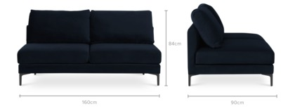 dimension of Adams Armless 2 Seater Sofa