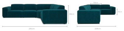 dimension of Todd Extended Sectional Sofa