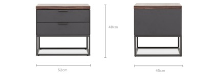 dimension of Alfred Bedside Table, 1 Pair