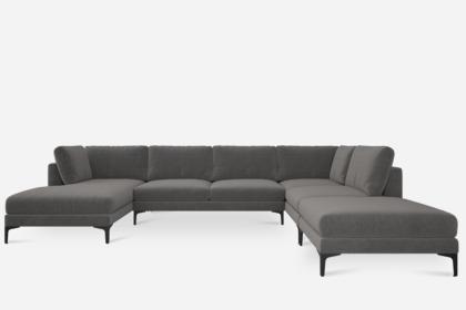 Adams U Shape Sectional Sofa With Chaise Black Left Facing Fog