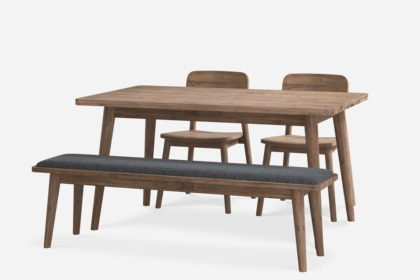 Seb Extendable Dining Table With Bench And 2 Chairs Castlery Singapore