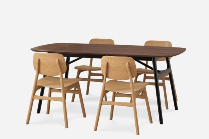 Joshua Dining Table With 4 Oak Joshua Chairs