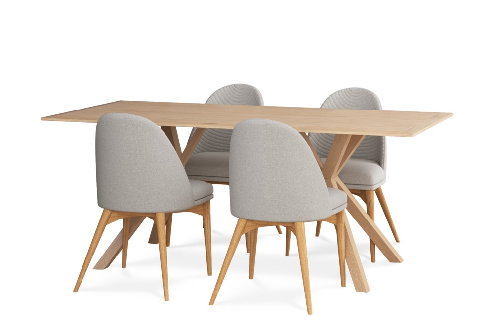 Nixon Dining Table with 4 Debbie Chairs