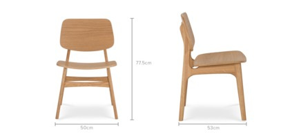 dimension of Joshua Chair, Oak