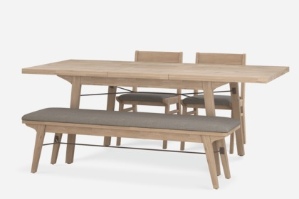 official photos 24389 5108d Miles Extendable Dining Table with Bench and 2 Chairs