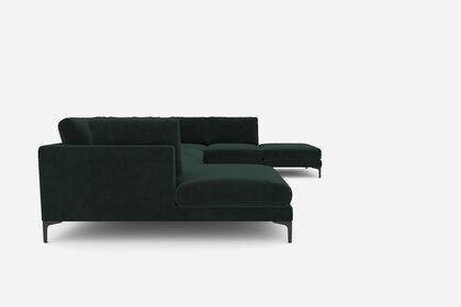 Adams U Shape Sectional Sofa With Chaise Black Left Facing Fern