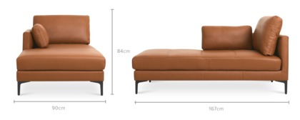 dimension of Adams Left Chaise Leather
