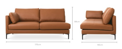 dimension of Adams Left Facing 2 Seater Sofa Leather