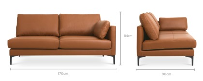 dimension of Adams Right Facing 2 Seater Sofa Leather