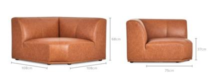dimension of Todd Corner Sofa Leather