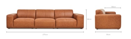 dimension of Todd Extended Sofa Leather