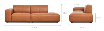 dimension of Todd Side Chaise Sofa Leather