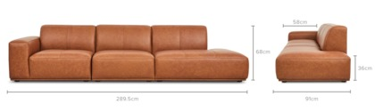 dimension of Todd Side Chaise Extended Sofa Leather