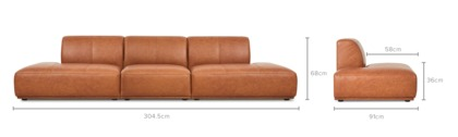 dimension of Todd Extended Chaise Sofa Leather