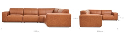 dimension of Todd Extended Sectional Sofa Leather