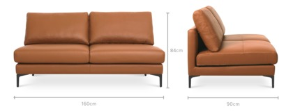 dimension of Adams Armless 2 Seater Sofa Leather