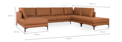 dimension of Adams U-Shape Sectional Sofa with Chaise Leather