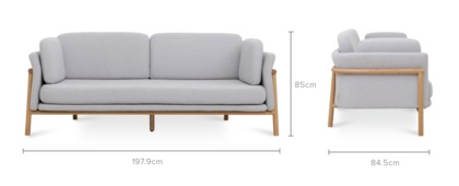 dimension of Bambu 3 Seater Sofa