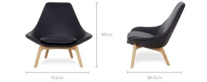 dimension of Gable High Armchair Leather