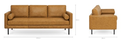 dimension of Nash 3 Seater Sofa Leather