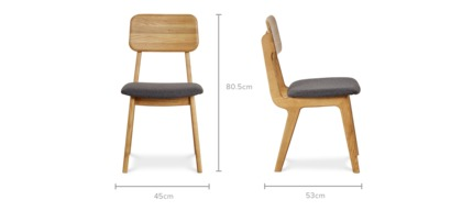 dimension of Vincent Dining Chair, Oak