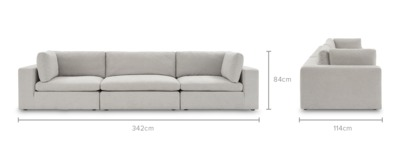 dimension of Noah 3 Seater Sofa