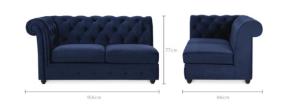 dimension of Jacques Left Facing 2 Seater Sofa