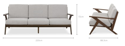 dimension of Ollie 3 Seater Sofa
