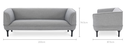 dimension of Bickerton 3 Seater Sofa
