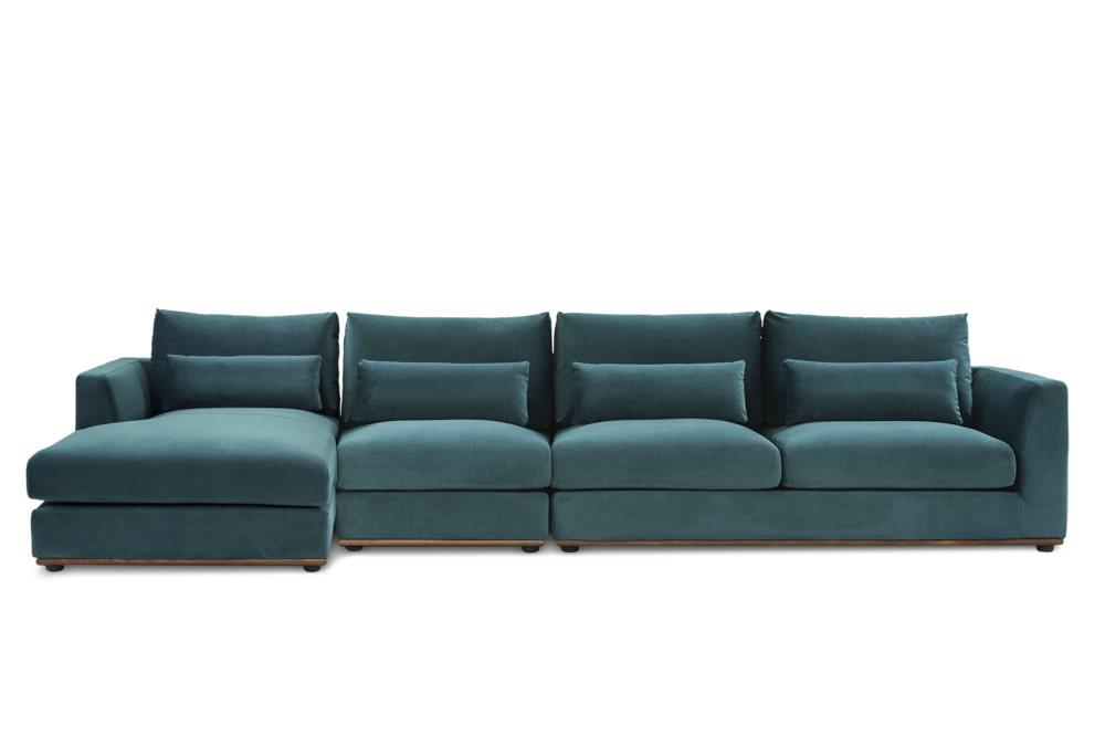Alfie Extended Chaise Sectional Sofa, Deep Teal Velvet ...