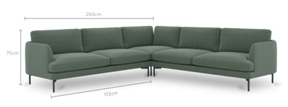 dimension of Pebble L-Shape Sectional Sofa