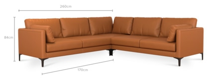 dimension of Adams L-Shape Sectional Sofa Leather