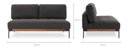 dimension of Ethan Armless 2 Seater Sofa