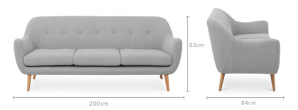 dimension of Capella 3 Seater Sofa